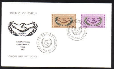 Cyprus Stamps SG 265-66 1965 International Cooperation year - Official FDC
