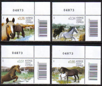 Cyprus Stamps SG 1266-69 2012 Horses - Control numbers MINT
