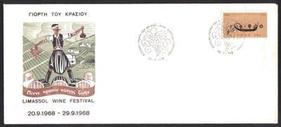 Cyprus Stamps 1968 Limassol wine festival Cachet - Cover (e962)