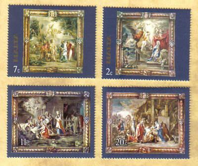 Malta Stamps SG 0576-79 1977 Rubens Flemish Tapestries 1st Series - MINT