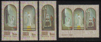 Malta Stamps SG 0648-51 1980 Christmas Paintings by A Inglott - MINT