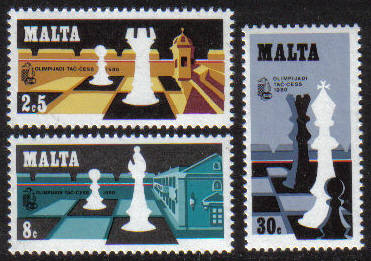 Malta Stamps SG 0652-54 1980 24th Chess Olympiad - MINT