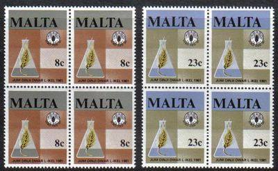 Malta Stamps SG 0665-66 1981 World Food Day - Block of 4 MINT