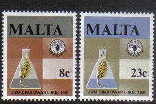 Malta Stamps SG 0665-66 1981 World Food Day - MINT