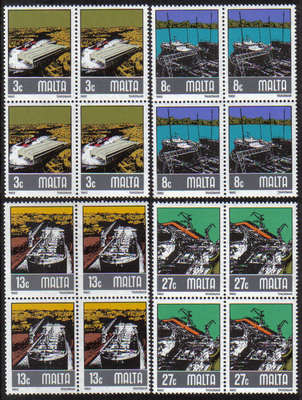 Malta Stamps SG 0686-89 1982 Shipbuilding industry - Block of 4 MINT