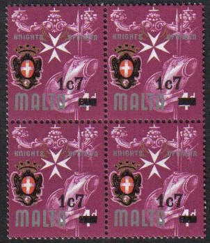 Malta Stamps SG 0575 1977 1c 7 Surcharge - Block of 4 MINT