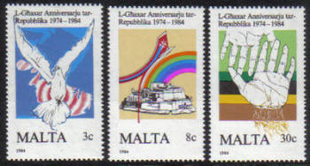 Malta Stamps SG 0748-50 1984 10th Anniversary of the Maltese Republic - MINT