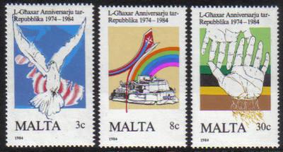 Malta Stamps SG 0748-50 1984 10th Anniversary of the Maltese Republic - MIN