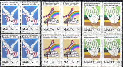 Malta Stamps SG 0748-50 1984 10th Anniversary of the Maltese Republic - Blo