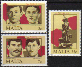 Malta Stamps SG 0761-63 1985 7th June 1919 Demonstrations - MINT