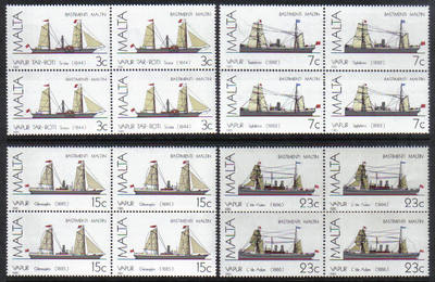 Malta Stamps SG 0772-75 1985 Maltese Ships 3rd Series - Block of 4 MINT