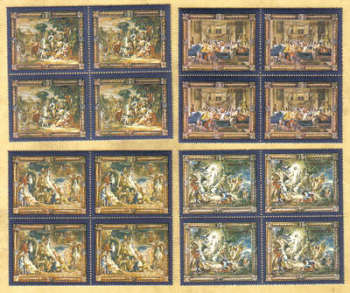 Malta Stamps SG 0592-95 1978 Flemish Tapestries 2nd Series - Block of 4 MINT