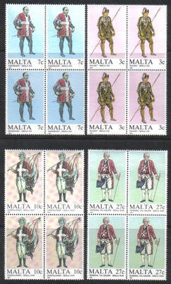 Malta Stamps SG 0802-05 1987 Maltese Uniforms 1st Series - Block of 4 MINT