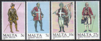 Malta Stamps SG 0802-05 1987 Maltese Uniforms 1st Series - MINT