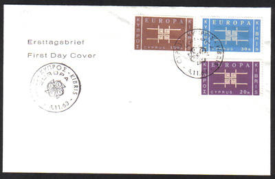 Cyprus Stamps SG 234-36 1963 Europa Emblem - Unofficial FDC (e985)