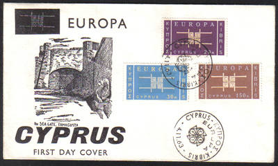 Cyprus Stamps SG 234-36 1963 Europa Emblem - Unofficial FDC (e986)