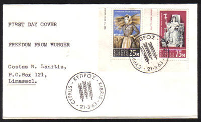Cyprus Stamps SG 227-28 1963 Freedom from hunger - Unofficial FDC (e990)