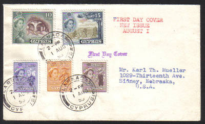 Cyprus Stamps SG 173-177 1955 Definitives Part set - First day cover (g020)