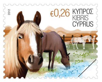 "Cyprus stamps 2012 ""horses"" 26c value stamp"