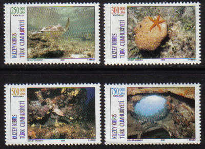 North Cyprus Stamps SG 0548-51 2002 Tourism underwater scenes - MINT