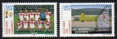 North Cyprus Stamps SG 0553-54 2002 World Cup football Japan and Korea - MI