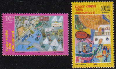 North Cyprus Stamps SG 0559-60 2002 Childrens paintings - MINT
