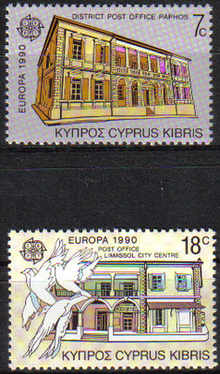 Cyprus Stamps SG 774-75 1990 Europa Post Office Buildings - MINT