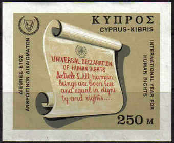 Cyprus Stamps SG 318 MS 1968 Human rights - MINT