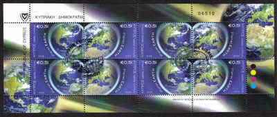 CYPRUS STAMPS SG 2009 (b) PLANET EARTH FULL SHEET - USED (a801)
