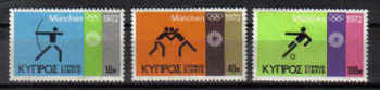Cyprus Stamps SG 390-92 1972 Munich Olympic Games - MINT