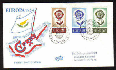 Cyprus Stamps SG 249-51 1964 Europa Flower - Unofficial FDC (a651)