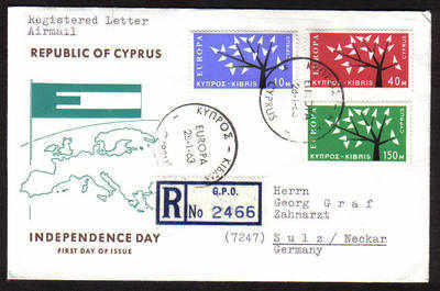 Cyprus Stamps SG 224-26 1963 Europa Tree - Unofficial FDC (a653)