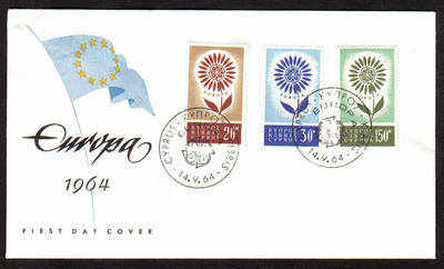 Cyprus Stamps SG 249-51 1964 Europa Flower - Unofficial FDC (a650)