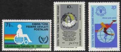 North Cyprus Stamps SG 117-19 1981 Commemorations - MINT