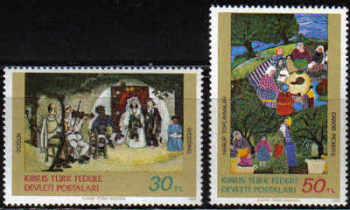 North Cyprus Stamps SG 127-28 1982 Art 1st Series - MINT