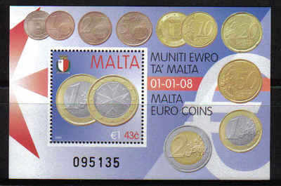 Malta Stamps SG 1585 MS 2008 Adoption of the Euro - MINT (p222)