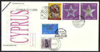 Cyprus Stamps SG 1206 an 1207-09 2009 all 12th of November issues Courts and Christmas - Unofficial FDC (b661)