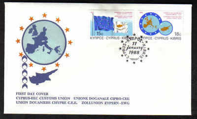 Cyprus Stamps SG 716-17 1988 Customs Union - Unofficial FDC (a363)