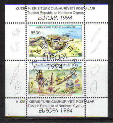 North Cyprus Stamps SG 372 MS 1994 Europa Archaelogical Discoveries - USED