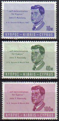 Cyprus Stamps SG 256-58 1965 John F Kennedy - MINT