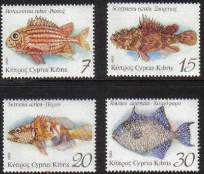Cyprus Stamps SG 837-40 1993 Fish - MINT
