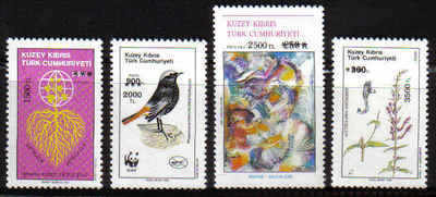NORTH CYPRUS STAMPS SG 388-91 1994 SURCHARGE - MINT