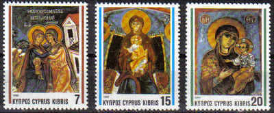 Cyprus Stamps SG 827-29 1992 Christmas Church Frescos - MINT