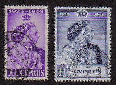 CYPRUS STAMPS SG 166-67 1948 KGVI ROYAL SILVER WEDDING - USED (a421)