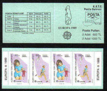 North Cyprus Stamps SG 251-52 1989 (SB2) Europa Childrens Games SB2 - Booklet MINT