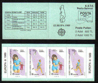 North Cyprus Stamps SG 251-52 MS 1989 (SB2) Europa Childrens Games SB2 - Bo