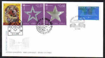 Cyprus Stamps SG 1206 and 1207-09 2009 European Court of Human Rights and Christmas issues - Unofficial FDC (b656)