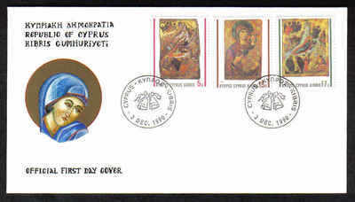 CYPRUS STAMPS SG 791-93 1990 FDC CHRISTMAS (a216)