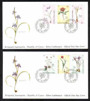 CYPRUS STAMPS SG 785-90 1990 FDC WILD FLOWERS (a215)