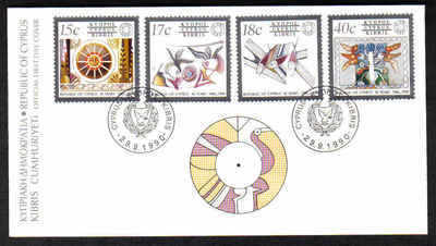 CYPRUS STAMPS SG 780-83 1990 FDC 30th ANNIVERSARY OF THE REPUBLIC OF CYPRUS